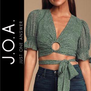 🆕 J.O.A. Green Polka Dot Cropped Wrap Top
